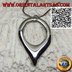Smooth silver pendant in the shape of an inverted drop with hook