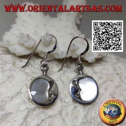 Round silver pendant earrings crescent moon embraced with mother of pearl