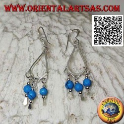 Drop earrings in silver with 3 hanging turquoise spheres