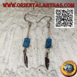 Silver pendant earrings with parallelepiped of turquoise and feather