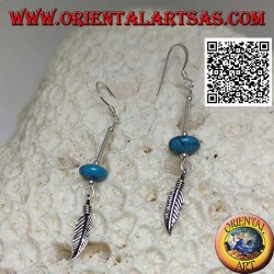 Silver dangle earrings with turquoise donut and feather