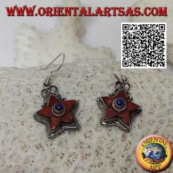 Silver earrings with antique natural coral star and central lapis lazuli surrounded by weaving
