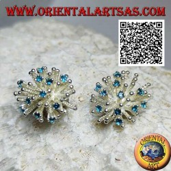 Silver earrings from lobe in the shape of a sea anemone with satin processing and blue zircons set