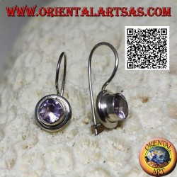 Silver earrings with natural round amethyst on a smooth frame with a smooth edge