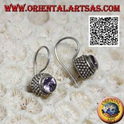 Silver earrings with natural round amethyst with border of four rows of balls