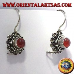 orecchini fiorellino con corniola, in argento
