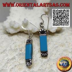 Orecchini in argento con turchese rettangolare e ventaglio inciso sopra e sotto