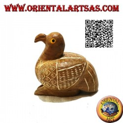 Sculpture of a crouching duck painted by hand, 9 cm teak wood (natural)