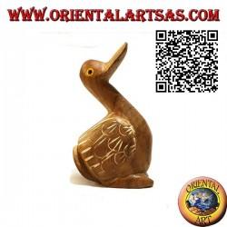 Sculpture peinte à la main d'une oie, bois de teck 12 cm (naturel)