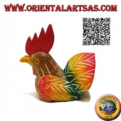Hand painted sculpture of a rooster, 11 cm teak wood (multicolor)