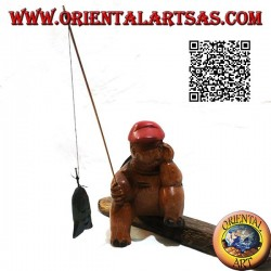Monkfish with pipe and hand painted teak wood fishing rod (small)
