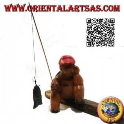 Tartaruga pescatrice con pipa e canna da pesca in legno di teak dipinta a mano (piccola)
