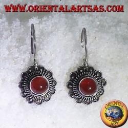 earring flower with carnelian, silver