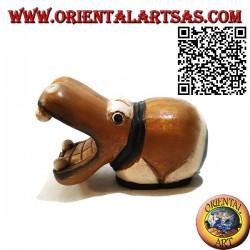 Sculpture peinte à la main d'un hippopotame, en bois de teck (petit)