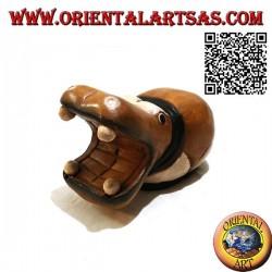 Sculpture peinte à la main d'un hippopotame, en bois de teck (grand)