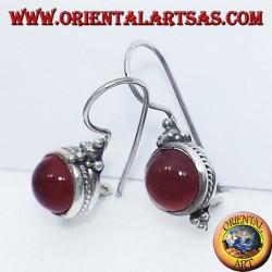 earring with carnelian round Bali, silver