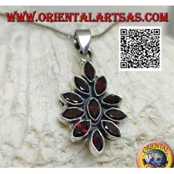 Silver pendant with 11 faceted shuttle garnets on a smooth setting