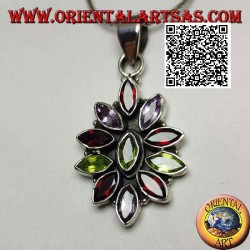 Silver pendant with 11 garnets, peridot and alternating faceted shuttle zircons