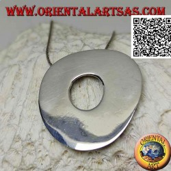 Smooth silver pendant in the shape of a large irregular disc in the Neolithic rock style