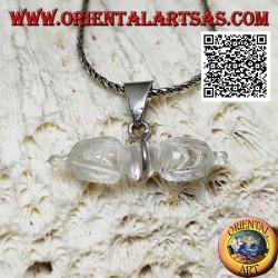 Ciondolo dorje in cristallo di rocca con gancio a 1 filo in argento