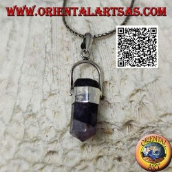 Silver pendant with pointed hexagonal prism of natural amethyst