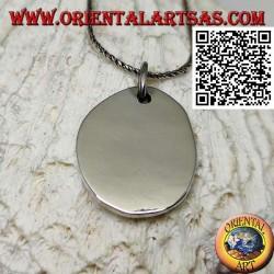 Ciondolo in argento medaglietta liscia di forma ovale irregolare