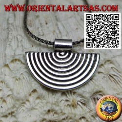 Silver pendant, semicircular lines in the shape of a fan