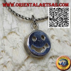 Smooth round silver pendant with smiley face / perforated smiley face