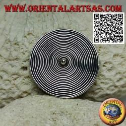 Spilla in argento tonda a spirale con pallina centrale