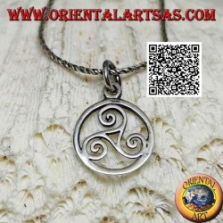 Silver pendant in the shape of a triskele / triskell in the 15 mm cosmic circle