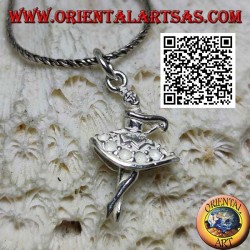 Silver pendant of ballet dancer in tutu in third position