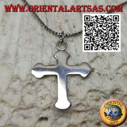 Smooth and flat orthodox cross silver pendant