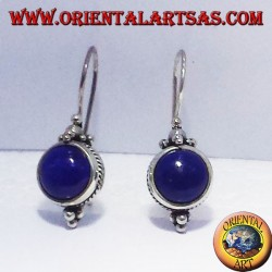 Earring with round Lapis, silver