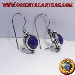Boucles d'oreilles avec Lapis rondes, argent