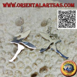 "Silver pendant earrings in the shape of a fairy ""Tinker Bell"" in smooth profile"
