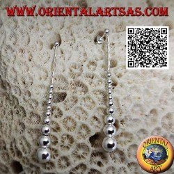 Silver lobe earrings with a row of hanging smooth growing balls