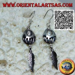 Silver leverback earrings with engraved footprint on medal and pendant feather