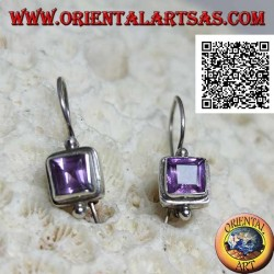 Silver earrings with faceted square amethyst on smooth setting with ball above and below