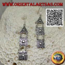 Silver hook earrings with triangular and square plates with high relief decoration