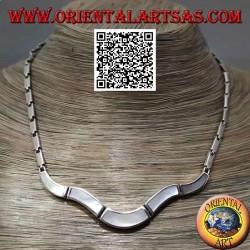 Collana in argento 925 ‰ a girocollo, rettangoli lisci e con madreperla a filo bordo (undulata)