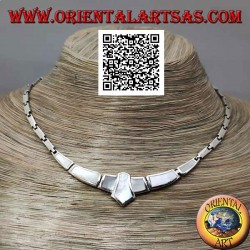 925 ‰ silver choker necklace, smooth rectangles and with mother of pearl flush with central edge