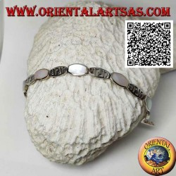 Silver bracelet rounded rectangular plates alternating with wire mother of pearl and perforated pattern
