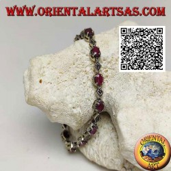 Silver bracelets with 12 natural oval rubies set alternating with marcasite rhombuses