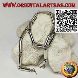 925 ‰ silberne Chokerhalskette, glatte Röhren durch Ringe verbunden
