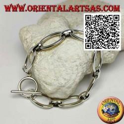 Bracciale morbido in argento a catena di anelli ovali grandi