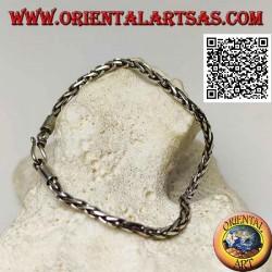 Bracciale in argento a maglia intrecciata con gancio liscio da 20 cm x 2,5 mm