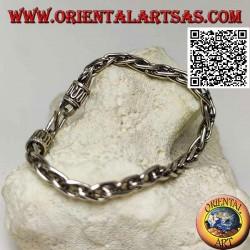 Bracciale in argento a maglia intrecciata con gancio a serpentina da 20,5 cm x 5 mm