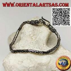 "Silver ""Borobudur"" link bracelet (Byzantine link) with 21 cm x 3 mm serpentine hook"