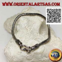 Bracciale in argento a maglia snake indonesiano con gancio a serpentina da 21 cm x 3,5 mm