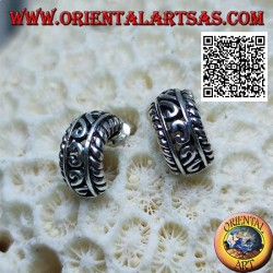 Semicircle silver earrings with openwork decoration and butterfly clasp